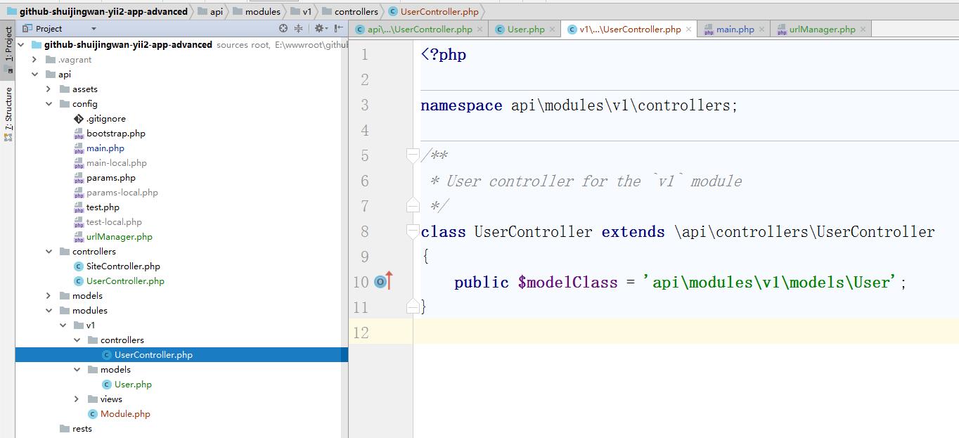 \api\modules\v1\controllers\DefaultController.php 重命名为 \api\modules\v1\controllers\UserController.php,通过指定 [[yii\rest\ActiveController::modelClass|modelClass]] 作为 api\modules\v1\models\User, 控制器就能知道使用哪个模型去获取和处理数据
