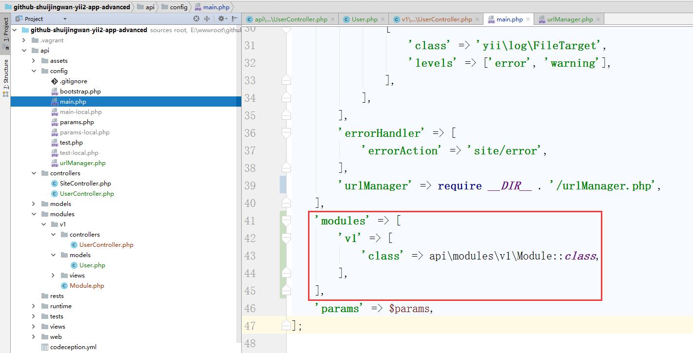要在应用中使用模块,只需要将模块加入到应用主体配置的[[yii\base\Application::modules|modules]]属性的列表中, 如下代码的应用主体配置 使用 v1 模块,编辑 \api\config\main.php