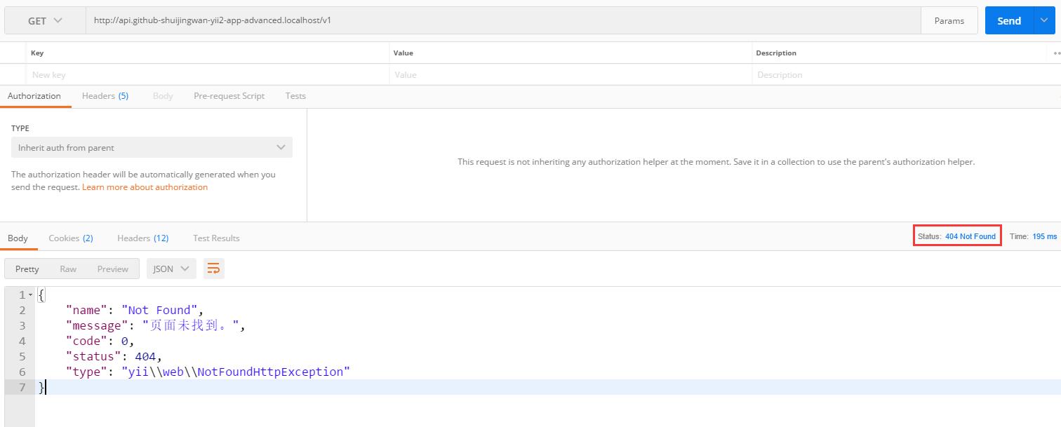 在 Postman 中,GET http://api.github-shuijingwan-yii2-app-advanced.localhost/v1 ,404响应,格式为JSON