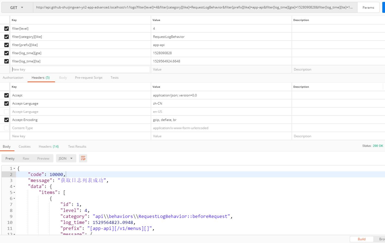 在 Postman 中,GET http://api.github-shuijingwan-yii2-app-advanced.localhost/v1/logs?filter[level]=4&filter[category][like]=RequestLogBehavior&filter[prefix][like]=app-api&filter[log_time][gte]=1528090828&filter[log_time][lte]=1529564924.6648 ,测试数据过滤器,200响应