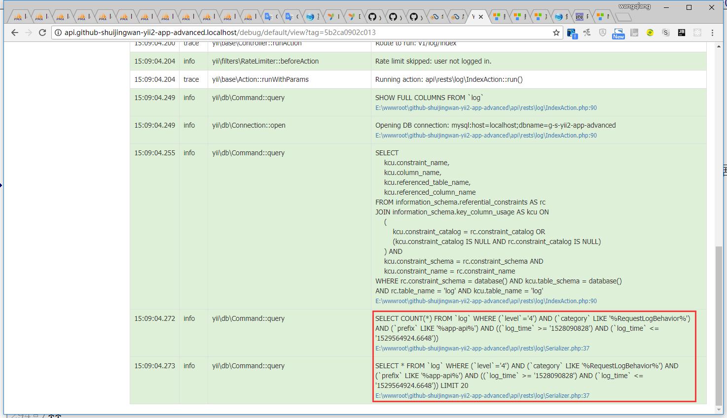 编辑 \api\rests\log\IndexAction.php,取消使用 yii\base\DynamicModel实例作为$searchModel,设置数据过滤器以启用筛选器处理,生成SQL语句
