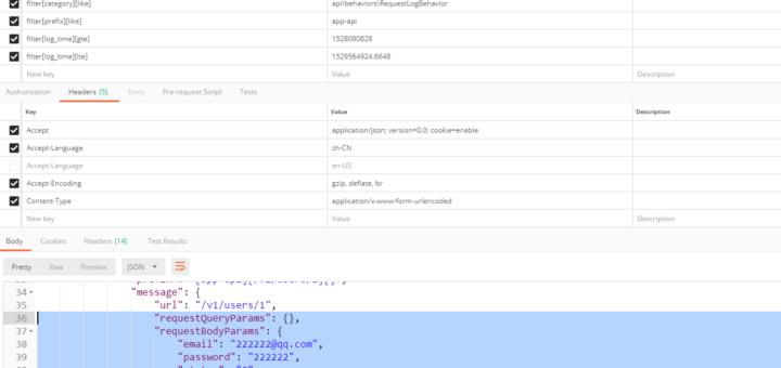 在 Postman 中,GET http://api.github-shuijingwan-yii2-app-advanced.localhost/v1/logs?filter[level]=4&filter[category][like]=api\behaviors\RequestLogBehavior&filter[prefix][like]=app-api&filter[log_time][gte]=1528090828&filter[log_time][lte]=1529564924.6648 ,200响应,空数组已经被自动转换为空对象,以保证字段格式的统一,GET http://api.github-shuijingwan-yii2-app-advanced.localhost/v1/logs/3