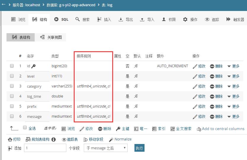 浏览数据库表,user、log表的排序规则为:utf8mb4_unicode_ci,且表列的排序规则也为:utf8mb4_unicode_ci