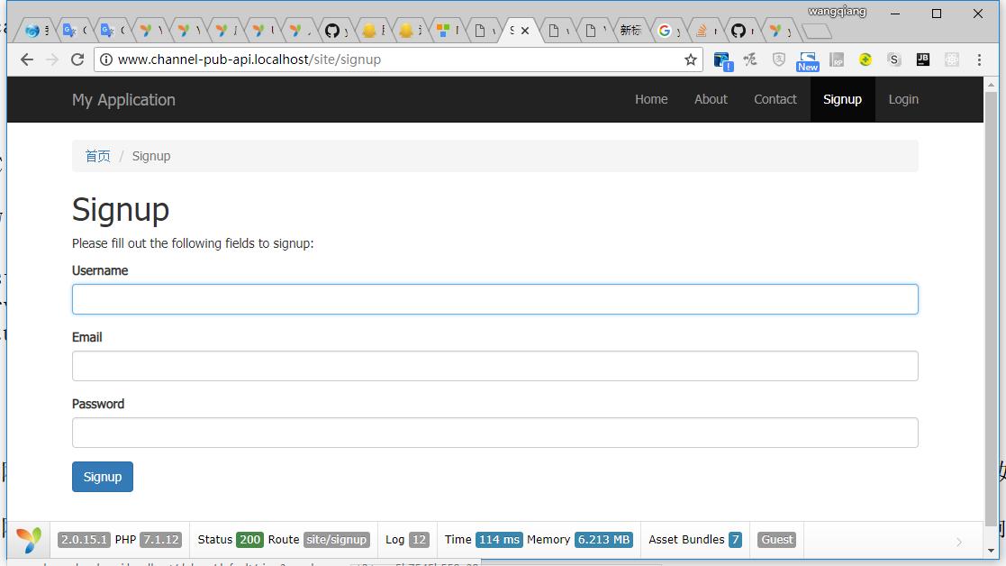 打开网址:http://www.channel-pub-api.localhost/site/signup ,前端路由符合预期,成功响应