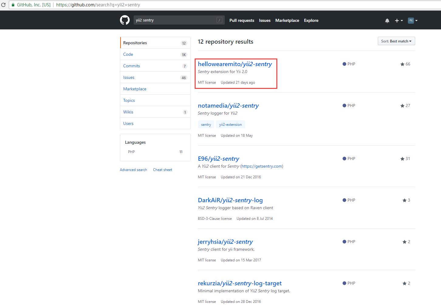 在 GitHub 中搜索 yii2 sentry,决定基于 hellowearemito/yii2-sentry 实现