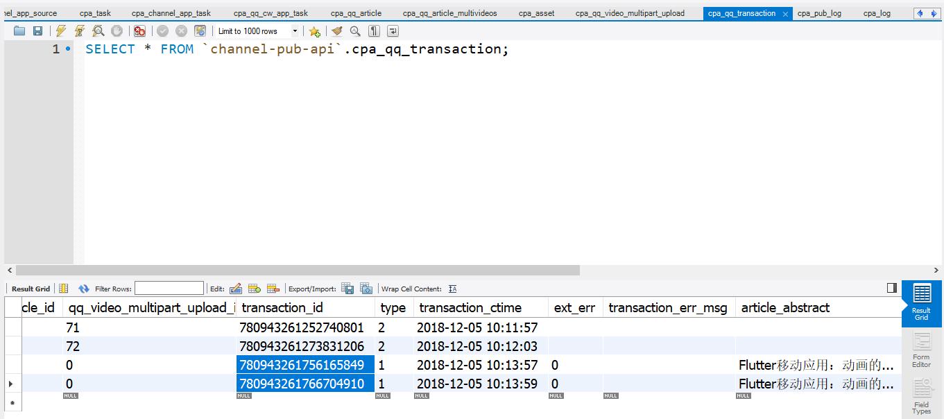 run 命令获取并执行循环中的任务(发布文章队列),直到队列为空,发布文章队列的作业执行成功,执行结果符合预期,文章事务记录已经插入至事务表中