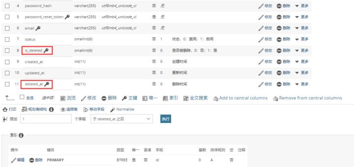 执行数据库迁移命令,查看数据库表 user 结构,符合预期