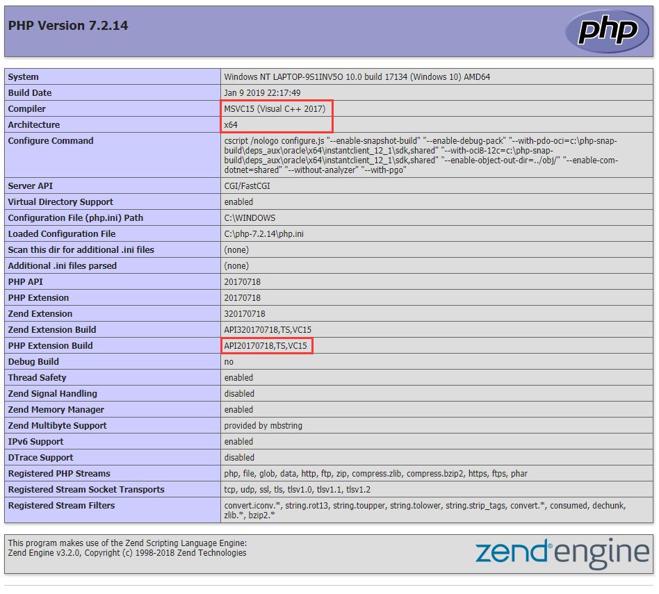 查看 phpinfo() 的相关信息,确认下载 Xdebug 的版本,VC15 x64 Thread Safe