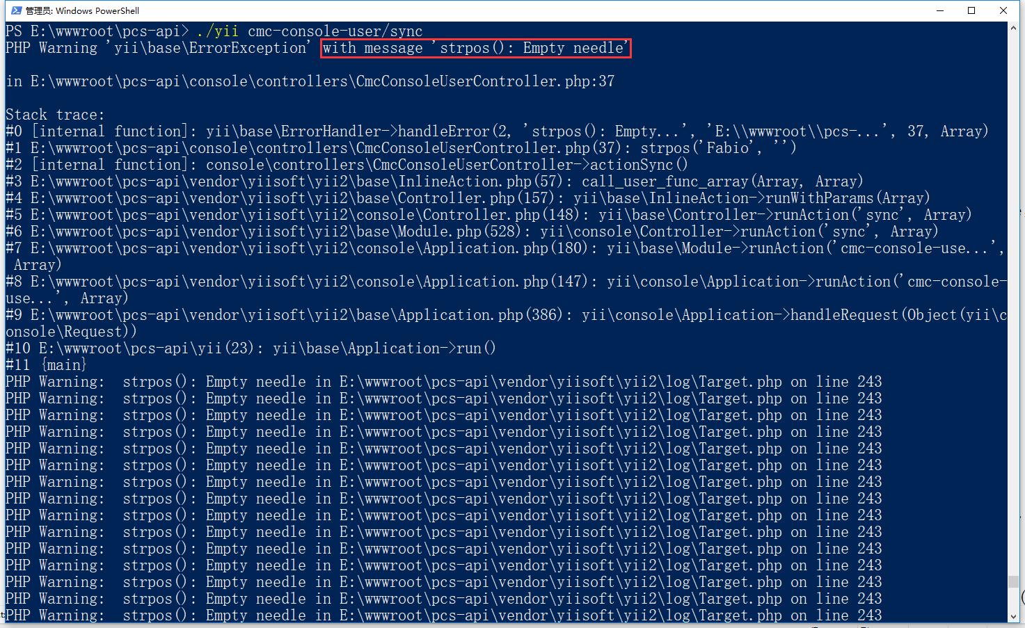 在命令行中编辑,在控制台命令行中一旦抛出异常,写入日志时,就会报错:PHP Warning:  strpos(): Empty needle