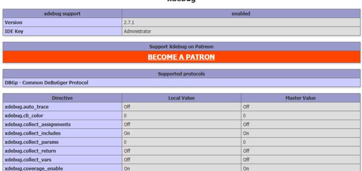 查看 phpinfo() 的相关信息,Xdebug 已经安装完毕