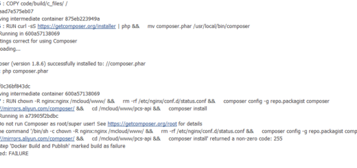 Docker 部署,在 Jenkins 上构建镜像时,报错:composer install returned a non-zero code: 255
