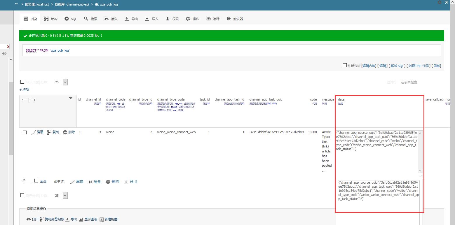 表:pub_log 中的字段:data 的数据结构为:json,格式化后的数据如下