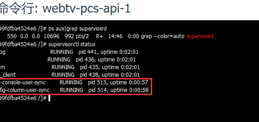 容器升级后,设置环境变量 PCS_API_CFG_CONSOLE=true,查看 supervisord 运行状态,PHP 命令行脚本 cmc-console-user/sync、config-column-user/sync 皆已运行,符合预期