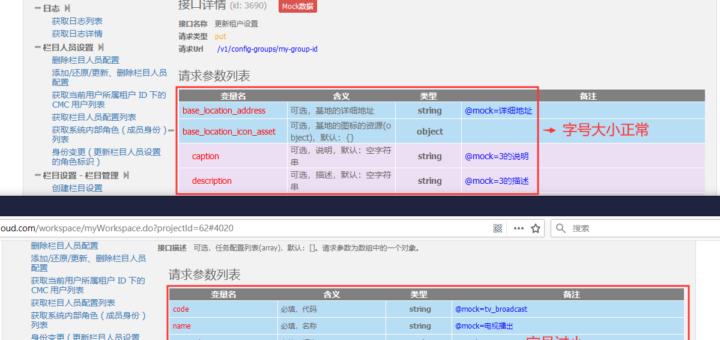 在 Rap 工具中,某个接口文档的字号相对于其他接口文档更小
