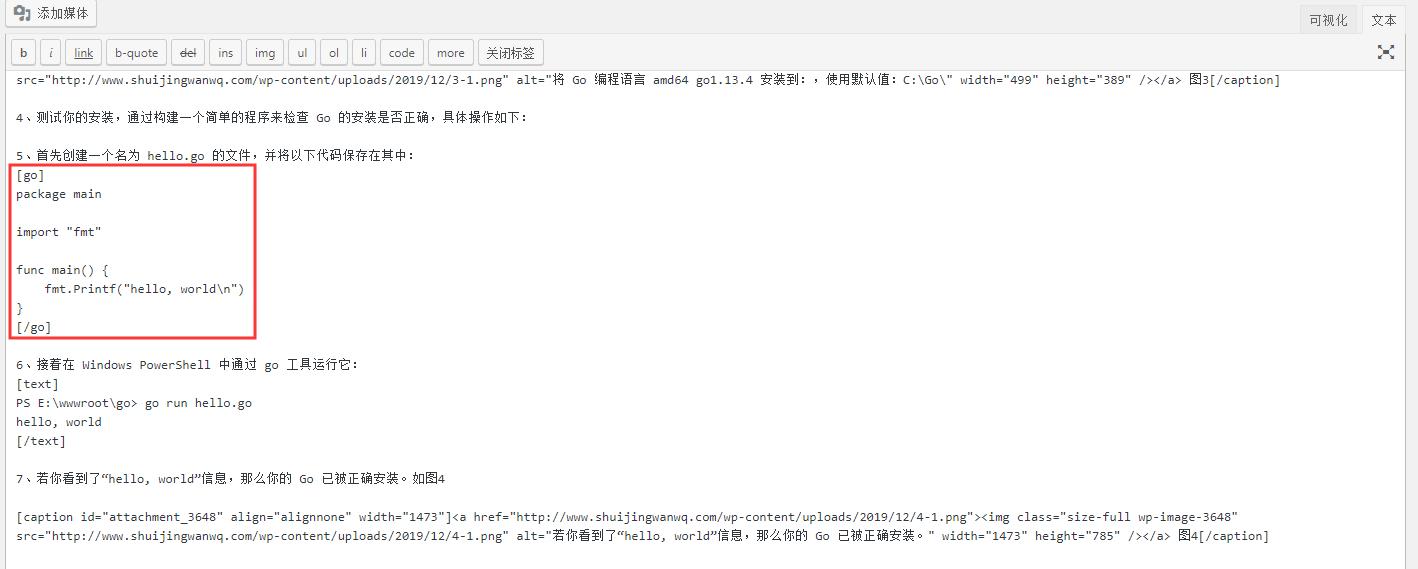 在编辑器的文本模式中,有以 go 开头与结尾的代码段