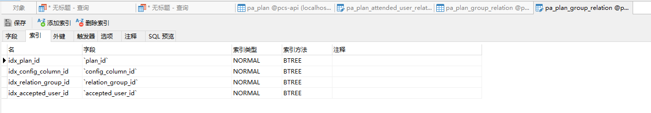 pa_plan_group_relation 表的索引调整后,仅保留索引:idx_plan_id、idx_config_column_id、idx_relation_group_id、idx_accepted_user_id