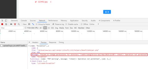 决定调整为开发模式 (dev),再次上传选题素材,以查看更为详细的错误信息,报错:chmod(): Operation not permitted