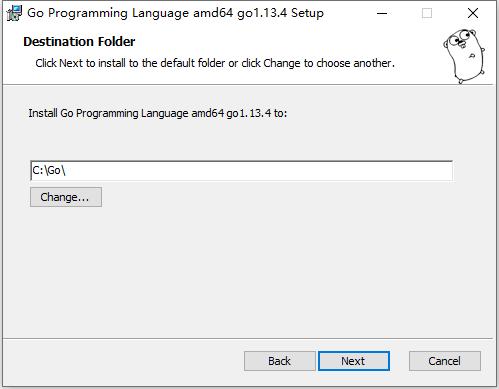 将 Go 编程语言 amd64 go1.13.4 安装到:,使用默认值:C:\Go\