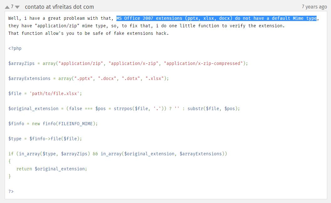 参考官方文档:https://www.php.net/manual/zh/function.finfo-file.php ,其中存在 MS Office 2007 扩展(pptx,xlsx,docx) 没有默认的 Mime 类型,它们具有 application/zip Mime 类型的解决方案,本质上,做了一下特殊处理,以安全地防范假扩展。