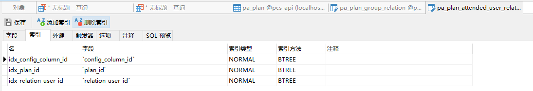pa_plan_attended_user_relation 表无索引,添加索引:idx_config_column_id、idx_plan_id、idx_relation_user_id 后,pa_plan_attended_user_relation 表的索引