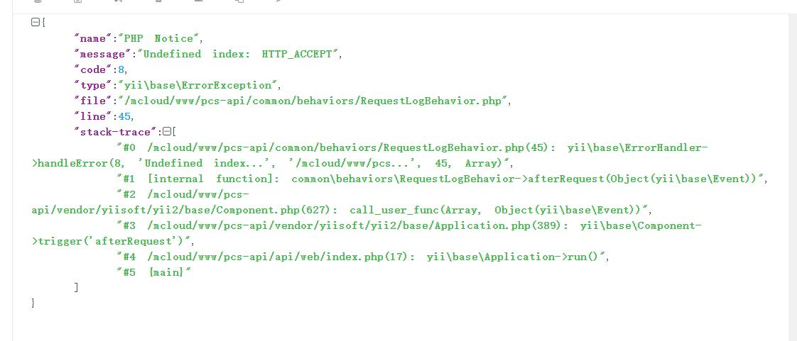 在 Yii 2.0 中报错:yii\base\ErrorException: Undefined index: HTTP_ACCEPT