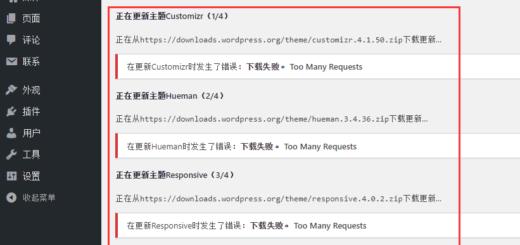 在 WordPress 中更新时发生了错误:下载失败。 Too Many Requests