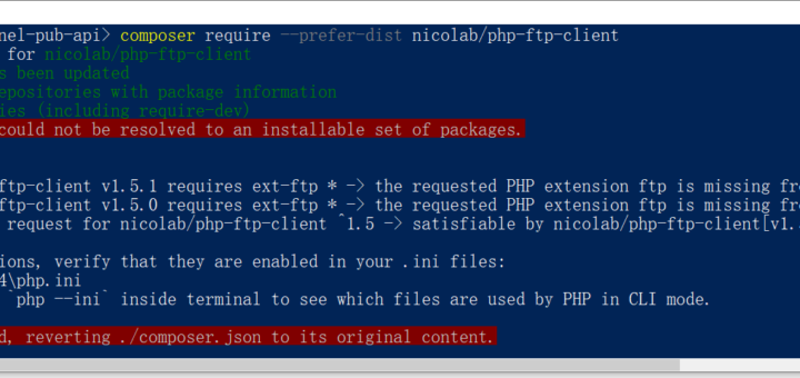Composer 安装:nicolab/php-ftp-client 时报错:the requested PHP extension ftp is missing from your system