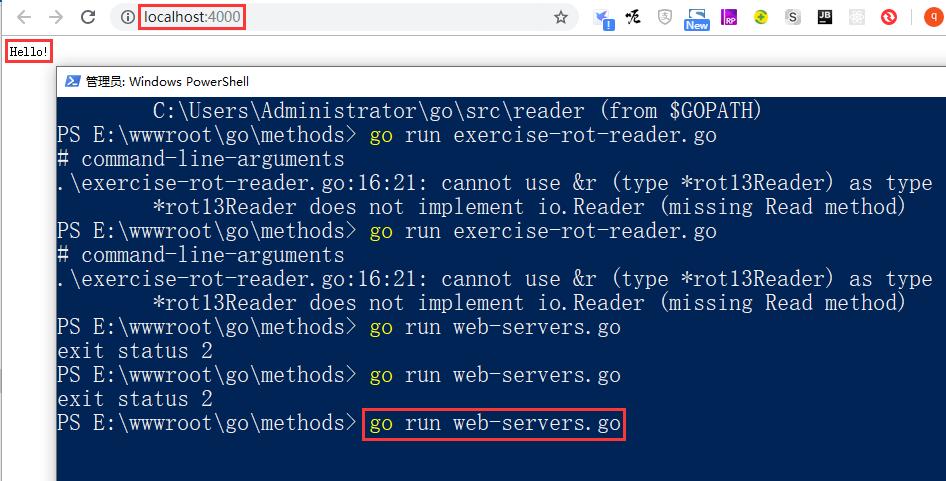 在 PowerShell 中运行:go run web-servers.go,再次访问 http://localhost:4000/ 时,输出:Hello!