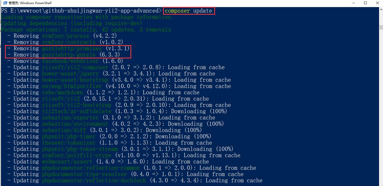 仔细分析后,发现参考网址中的第 2 个步骤,运行 composer update 时,卸载了:guzzlehttp/promises、guzzlehttp/guzzle