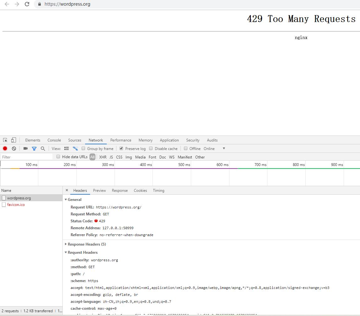 打开网址:https://wordpress.org/ ,响应:429 Too Many Requests,由此看来,原因在于 WordPress 官方网站在国内访问被阻止了。