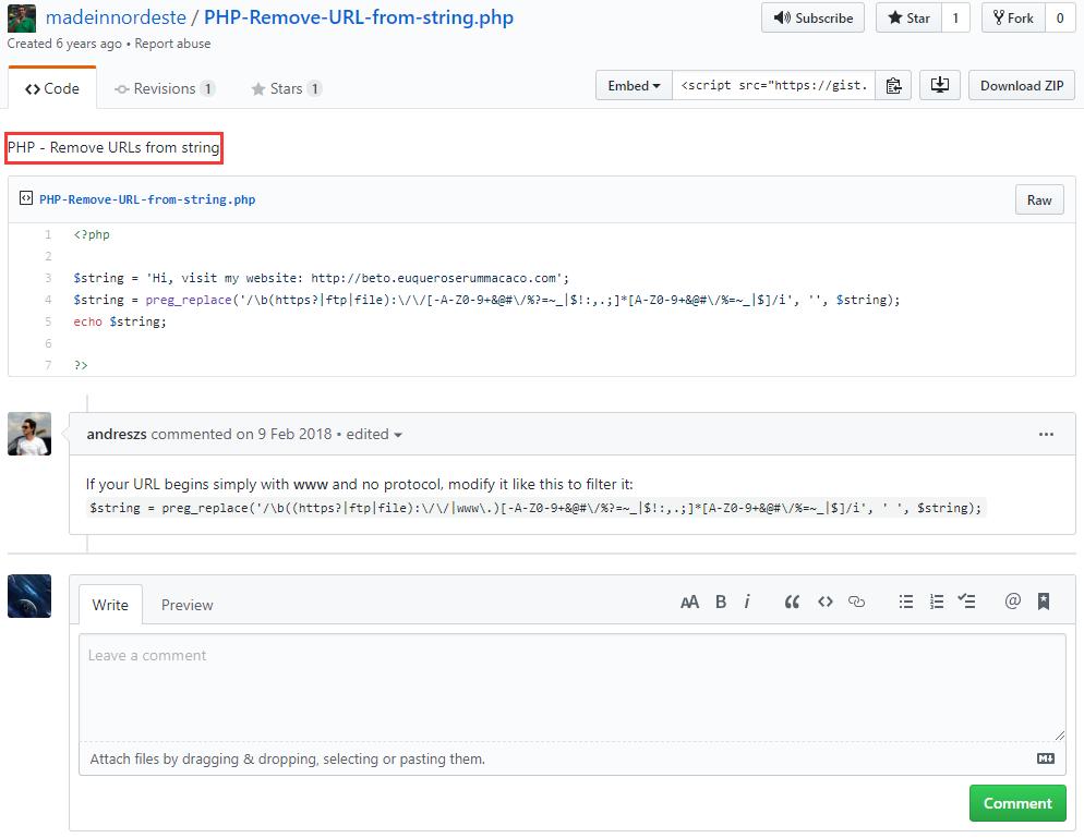 因此,现在要在渠道发布的接口中,实现同步验证,需要从content 字段的值中删除 URL ,再计算字符串长度。在 Google 中搜索:php delete url in string,搜索结果,PHP - Remove URLs from string,https://gist.github.com/madeinnordeste/e071857148084da94891