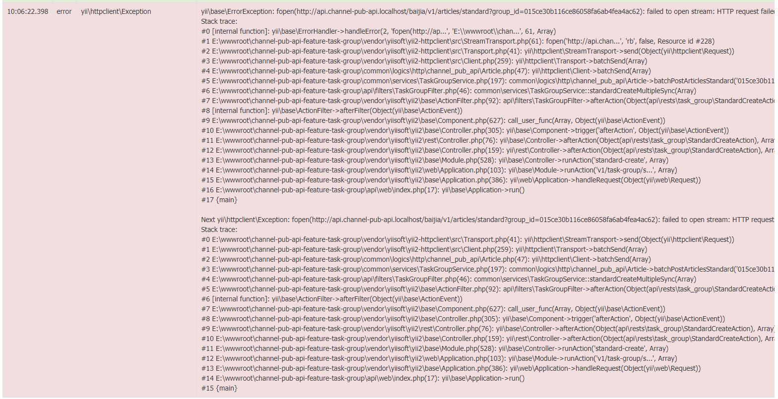 Nginx + php-fpm 在 Windows 10 下的情况表现,当在一个请求(http://api.channel-pub-api.localhost)中 CURL 另一个请求(http://api.channel-pub-api.localhost)时,报错:fopen(http://api.channel-pub-api.localhost/qq/v1/articles/standard?group_id=015ce30b116ce86058fa6ab4fea4ac63): failed to open stream: HTTP request failed! 。