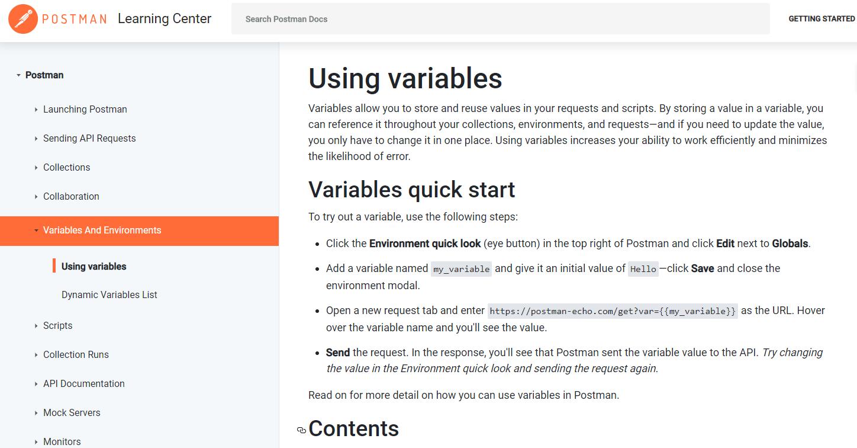 打开变量和环境变量的网址:https://learning.postman.com/docs/postman/variables-and-environments/variables/ ,变量和环境变量。使用变量,变量使您可以在请求和脚本中存储和重用值。