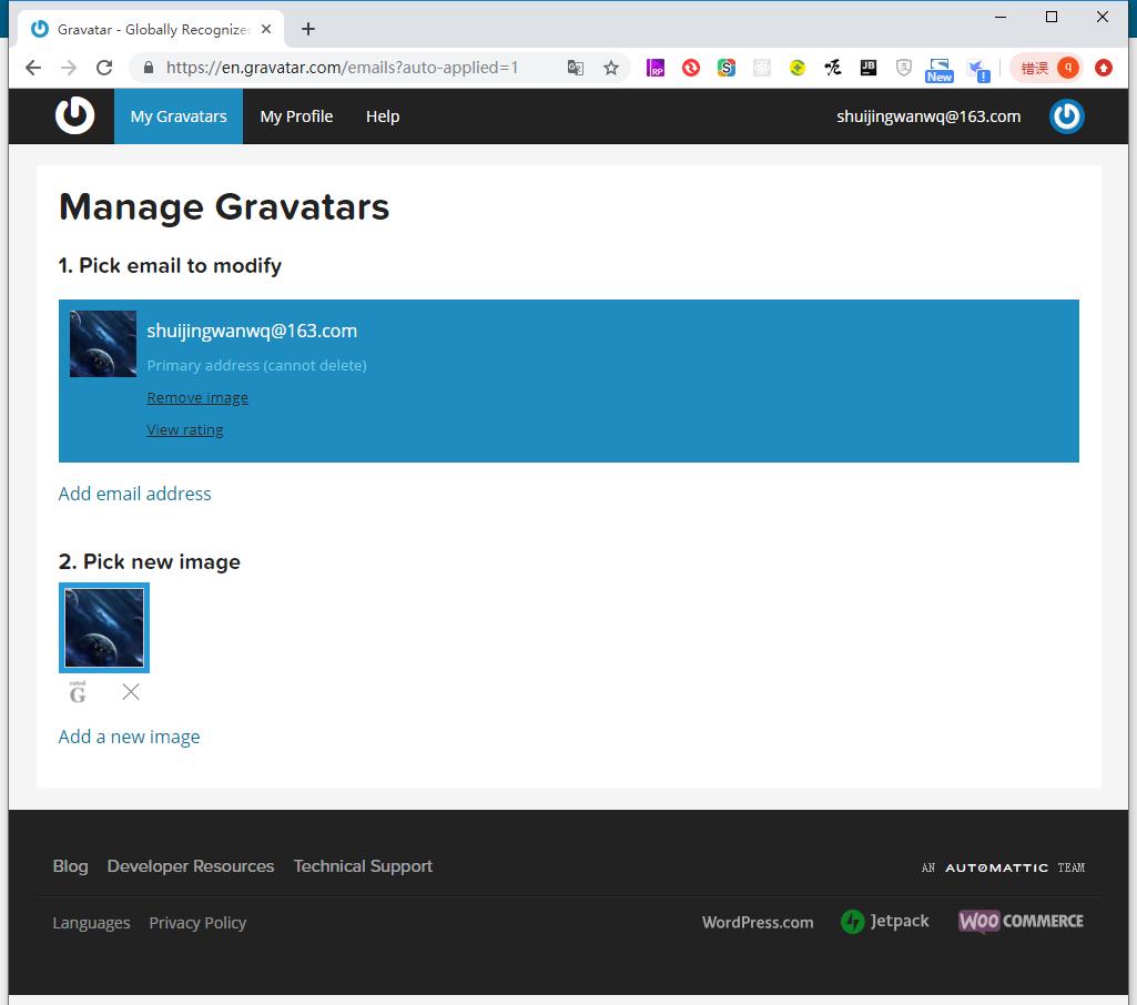 跳转回 My Gravatars 页面,头像已经设置成功