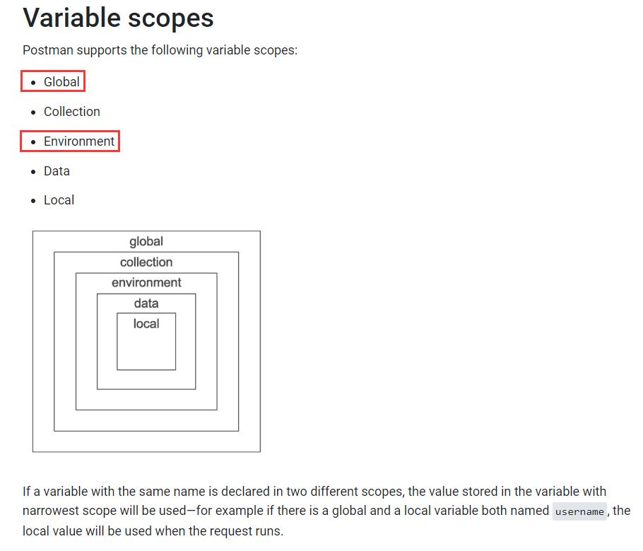 如果在两个不同的作用域中声明了具有相同名称的变量,则将使用存储在作用域最窄的变量中的值。现阶段仅使用了作用域:Global、Environment。全局变量使您可以访问集合,请求,测试脚本和环境之间的数据。环境变量使您可以针对不同的环境定制处理,例如本地开发与测试或生产。一次只能激活一个环境。