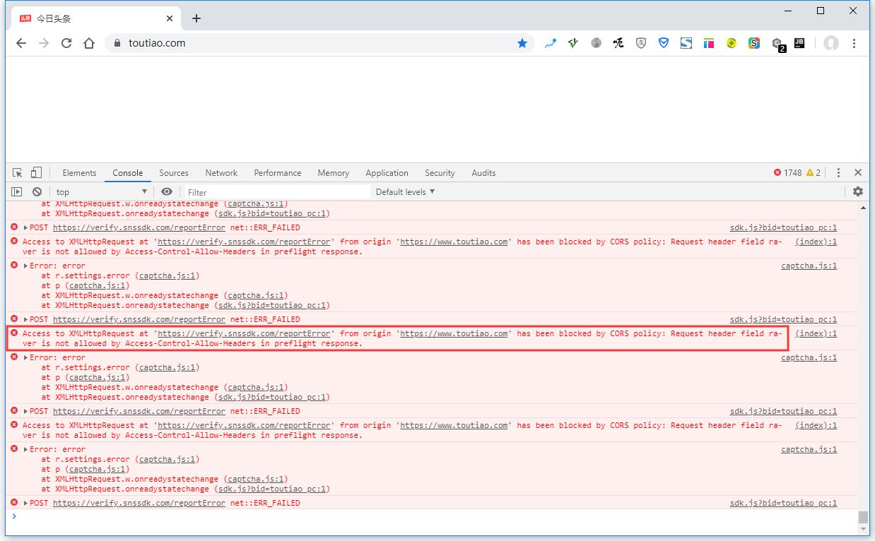 查看 Console,报错:Access to XMLHttpRequest at 'https://verify.snssdk.com/reportError' from origin 'https://www.toutiao.com' has been blocked by CORS policy: Request header field ra-ver is not allowed by Access-Control-Allow-Headers in preflight response.