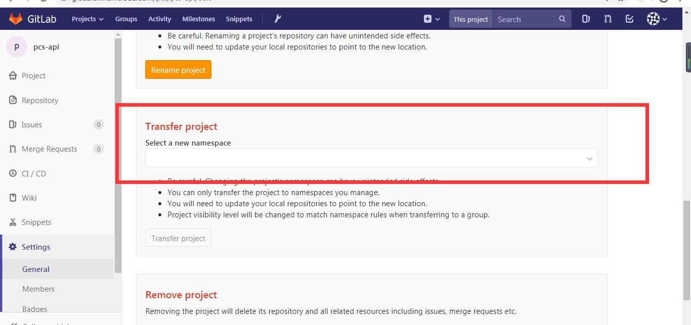 最终只好联系 GitLab 的部署人员,发现第 2 步骤中无法修改分组,原因在于权限不够。当权限足够时,是可以调整所属分组的。在 Settings -> General -> Advanced settings -> Transfer project 中