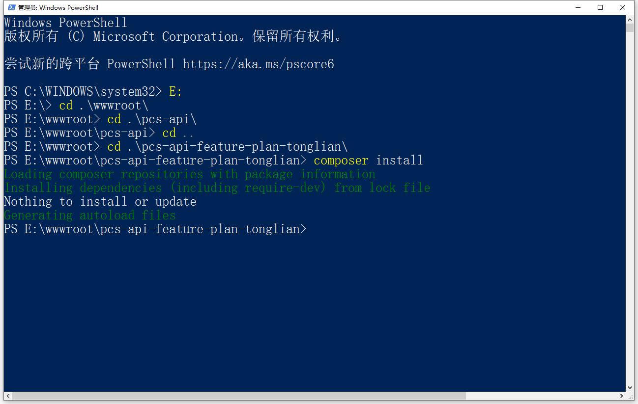 进入将 /vendor 加入至 Git 仓库前的本地环境。执行命令:composer install。成功运行。