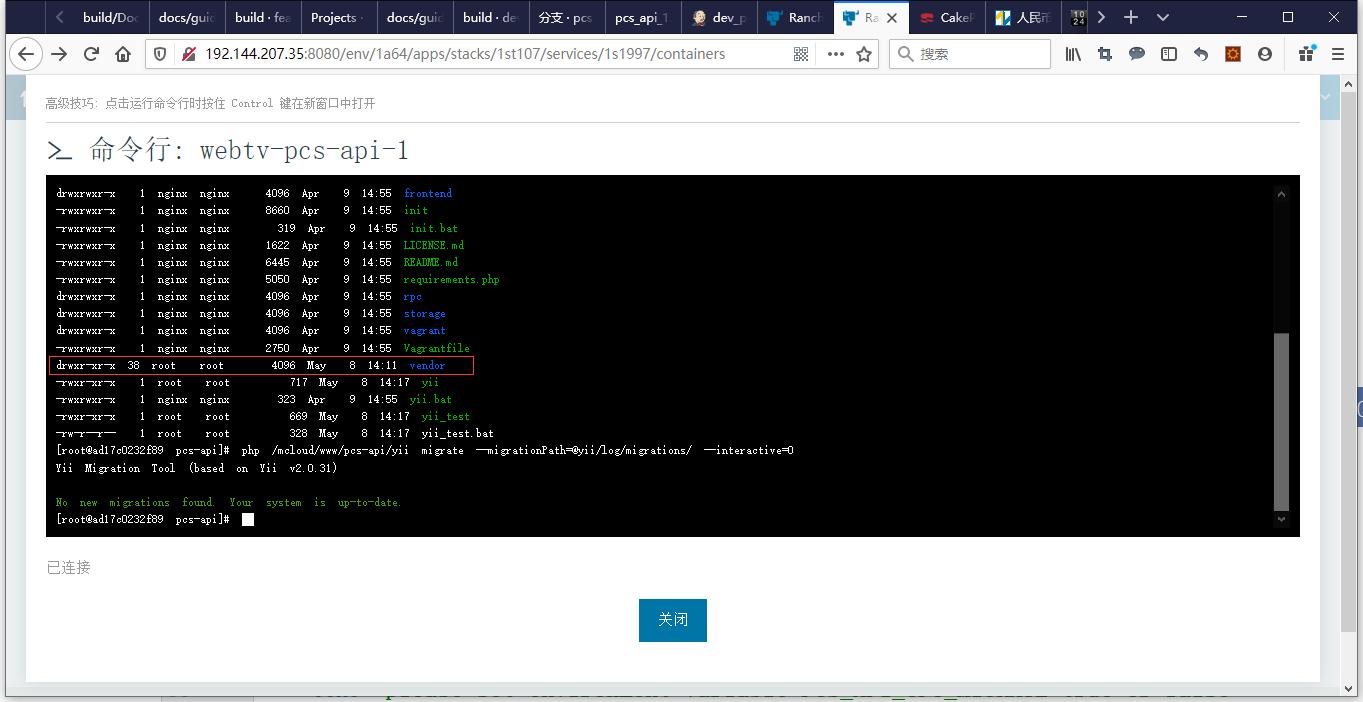 """进入将 /vendor 加入至 Git 仓库前的容器。手动执行 $PCS_API_CFG_MIGRATE == """"true"""" 的相关命令。成功运行,因为有相应输出。"""