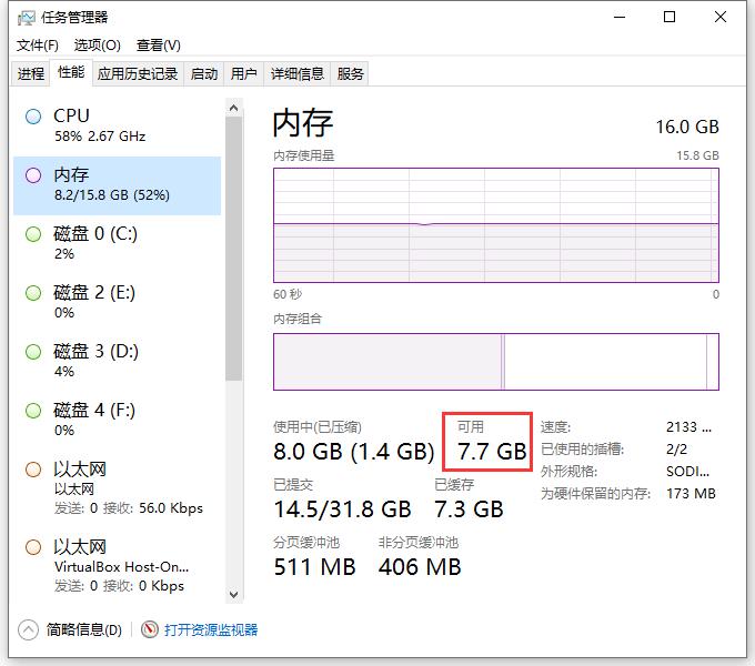 查看计算机上的可用内存:7.7 GB,因此,排除掉可用内存可能不足的情况。