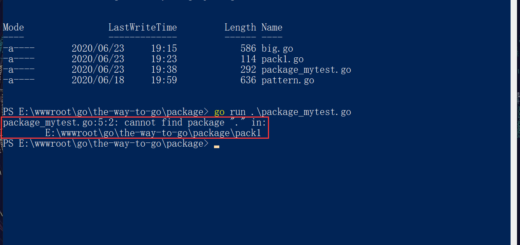 "在 Go 中报错:package_mytest.go:5:2: cannot find package ""."" in: E:\wwwroot\go\the-way-to-go\package\pack1。"