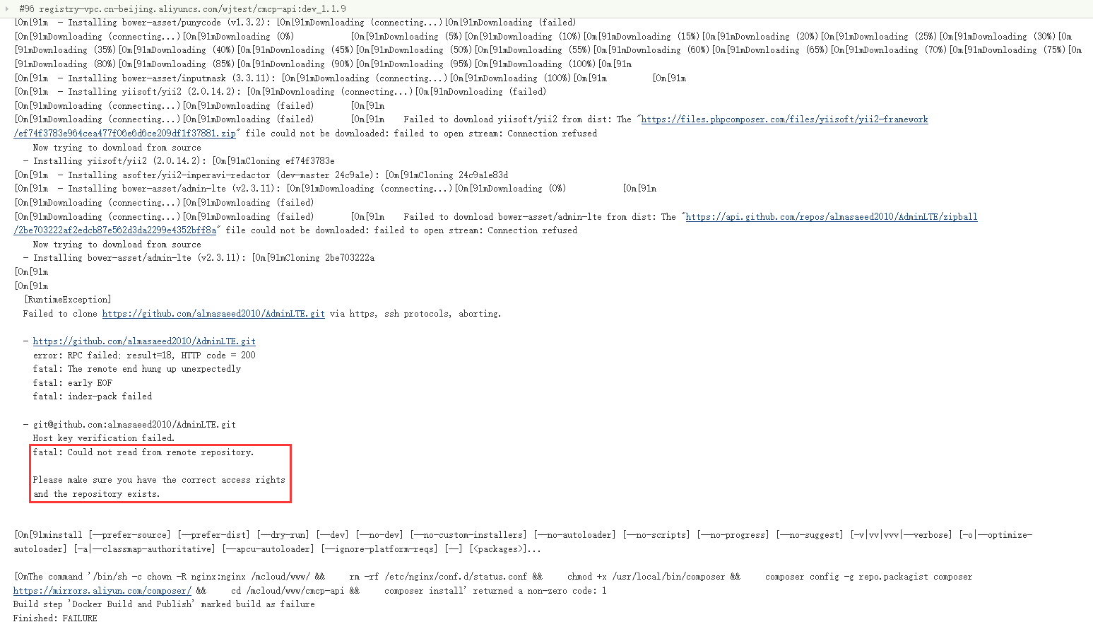 在 jenkins 中构建镜像时,报错:fatal: Could not read from remote repository.。虽然 Packagist 镜像地址已经切换为阿里云:https://mirrors.aliyun.com/composer/ 。查看 Dockerfile。
