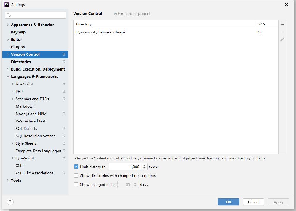 再次新建项目。在 PhpStorm 中已无提示:Invalid VCS root mapping。查看版本控制界面,已不存在::vendor\wartron\yii2-uuid。符合预期。