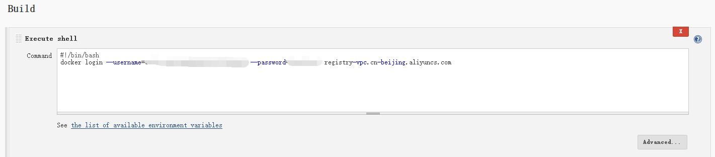 调整配置项,Build - Execute shell - Command,用户名与密码的值需要修改。