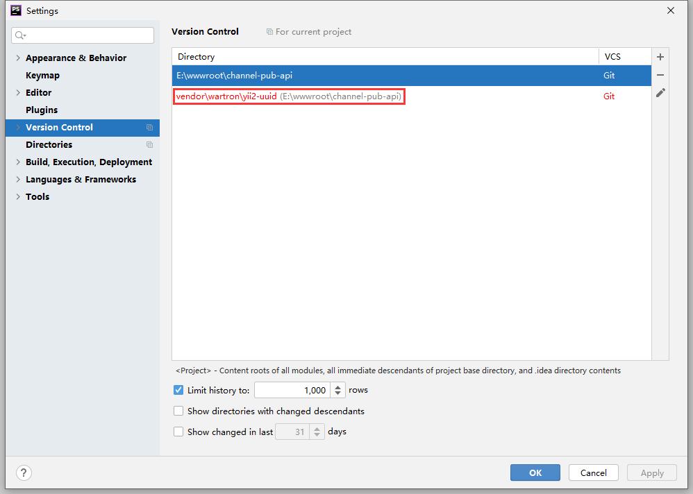 点击 Configure 进入配置界面。发现:vendor\wartron\yii2-uuid 标红。
