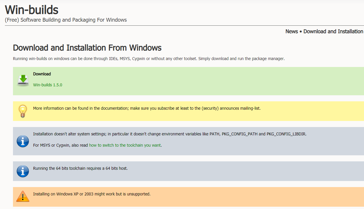 Download and Installation From Windows。