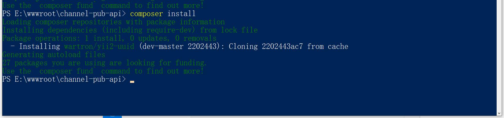 执行命令:composer install。全新安装:wartron/yii2-uuid。