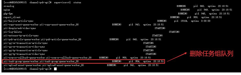 查看 supervisord 运行状态:supervisorctl status。删除任务组队列,怀疑任务组队列存在问题。