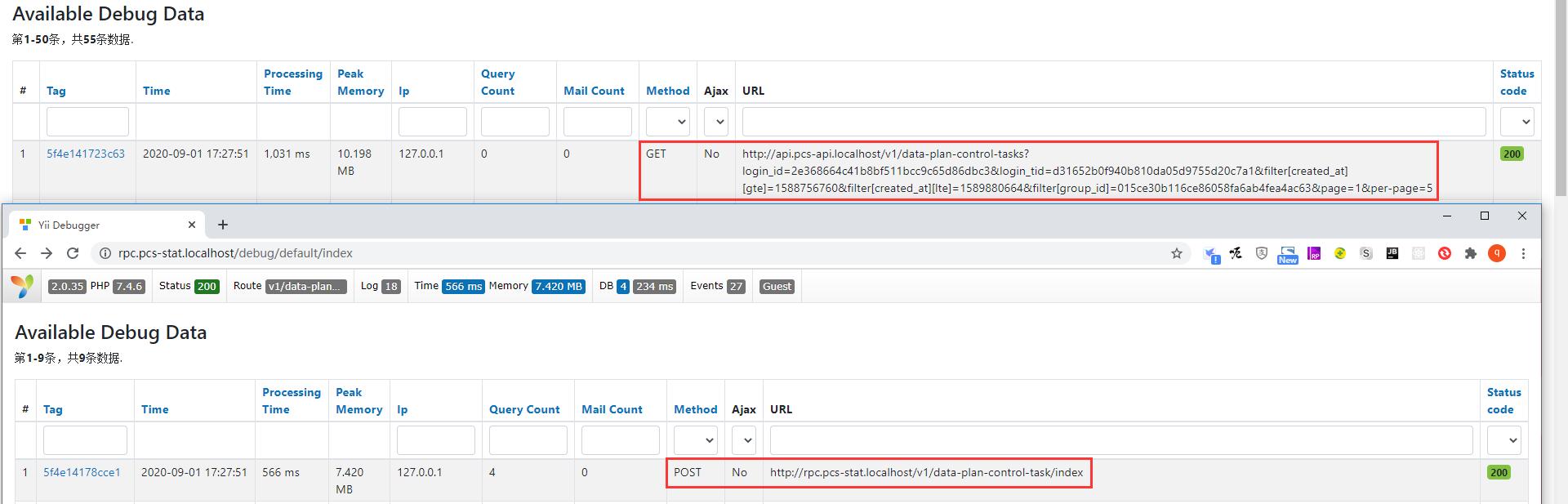 查看请求日志,本质上是先请求:api.pcs-api.localhost,再请求:rpc.pcs-stat.localhost。执行 SQL 如下。