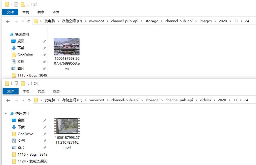 查看渠道发布的资源目录中,复制后的文件。其绝对路径分别为:E:\wwwroot\channel-pub-api\storage\channel-pub-api\images\2020\11\24\1606187993.2607.476899553.png、E:\wwwroot\channel-pub-api\storage\channel-pub-api\videos\2020\11\24\1606187993.2711.210785146.mp4。